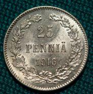 Русская Финляндия 25 пенни 1916 года