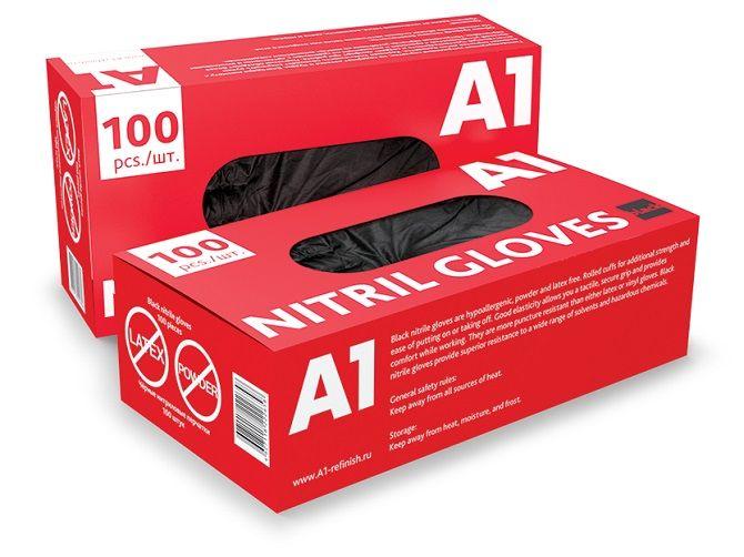 А1 NITRIL GLOVES Нитриловые перчатки, черные, размер M, (упаковка 100 шт.)