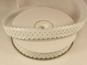 Лента декоративная, ширина 15 мм(213043), цвет: №14 бело-зеленый (бобина 20+-0,3 ярдов)