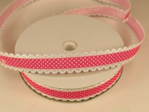 Лента декоративная, ширина 15 мм(213109), цвет: №4 ярко-розовый (бобина 20+-0,3 ярдов)
