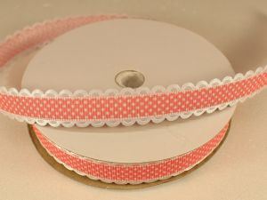 Лента декоративная, ширина 15 мм(213109), цвет: №5 коралловый (бобина 20+-0,3 ярдов)