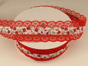 Лента декоративная, ширина 28 мм(313114), цвет: №2 красный (бобина 20+-0,3 ярдов)