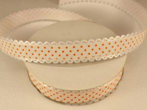 Лента декоративная, ширина 20 мм(213046), цвет: №4 бело-оранжевый (бобина 20+-0,3 ярдов)