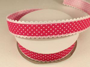 Лента декоративная, ширина 25 мм(313072), цвет: №6 ярко-розовый (бобина 20+-0,3 ярдов)