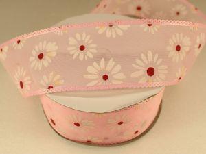 Лента декоративная, ширина 38 мм(413055), цвет: №1 розовый (бобина 20+-0,3 ярдов)