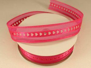 Лента декоративная, ширина 25 мм(313004), цвет: №6 ярко-розовый (бобина 20+-0,3 ярдов)