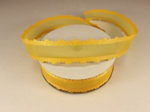 Лента декоративная, ширина 25 мм(313008), цвет: №8 желтый (бобина 20+-0,3 ярдов)