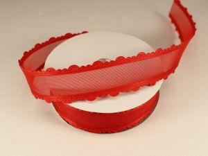 Лента декоративная, ширина 25 мм(313008), цвет: №9 красный (бобина 20+-0,3 ярдов)