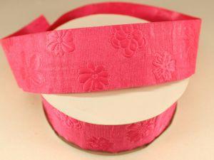 Лента декоративная, ширина 35 мм(413045), цвет: №6 ярко-розовый (бобина 20+-0,3 ярдов)