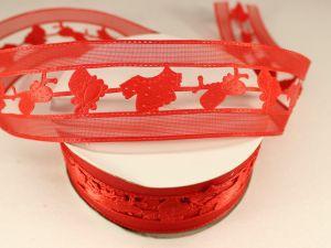 Лента декоративная, ширина 38 мм(413050), цвет: №3 красный (бобина 20+-0,3 ярдов)