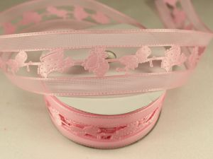 Лента декоративная, ширина 38 мм(413050), цвет: №5 розовый (бобина 20+-0,3 ярдов)