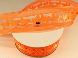 Лента декоративная, ширина 38 мм(413006), цвет: №1 оранжевый (бобина 20+-0,3 ярдов)