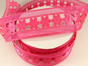 Лента декоративная, ширина 38 мм(413002), цвет: №7 ярко-розовый (бобина 20+-0,3 ярдов)