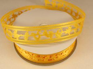 Лента декоративная, ширина 22 мм(313010), цвет: №4 желтый (бобина 20+-0,3 ярдов)