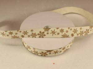 Лента хлопковая, ширина 15 мм(614043), цвет: №1 снежинки (бобина 20+-0,3 ярдов)
