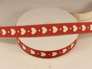 Лента хлопковая, ширина 15 мм(614045), цвет: №1 красная, сердца (бобина 20+-0,3 ярдов)