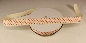 Лента хлопковая, ширина 15 мм(614011), цвет: №1 красный горох (бобина 20+-0,3 ярдов)