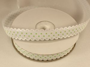 `Лента декоративная, ширина 15 мм(213043), цвет: №14 бело-зеленый