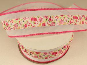 `Лента декоративная, ширина 38 мм(413021), цвет: №2 ярко-розовый