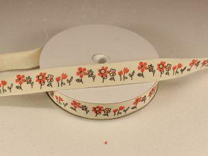 `Лента хлопковая, ширина 15 мм(614014), цвет: №1 цветы