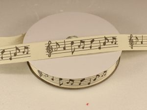 `Лента хлопковая, ширина 15 мм(614039), цвет: №1 ноты