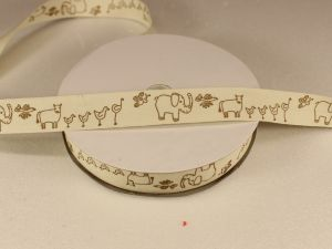 `Лента хлопковая, ширина 15 мм(614018), цвет: №1 животные