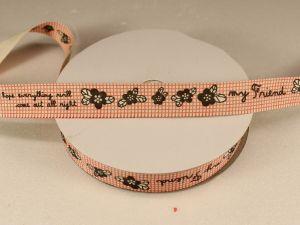 `Лента хлопковая, ширина 15 мм(614044), цвет: №1 клетка, цветы