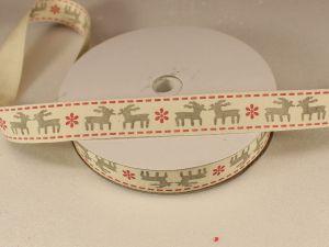 `Лента хлопковая, ширина 15 мм(614042), цвет: №1 олени