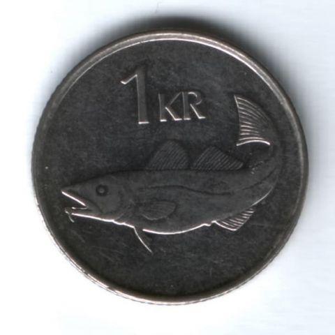 1 крона 1992 г. Исландия