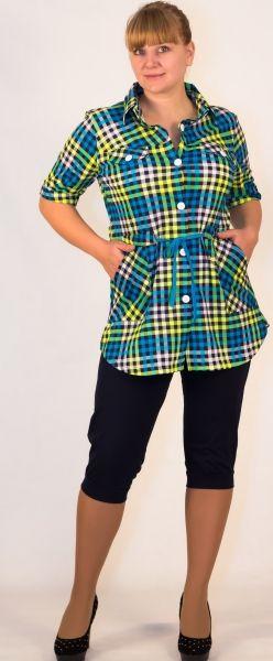 Рубашка женская в клетку Елена Efri-Sx29 (хлопок)