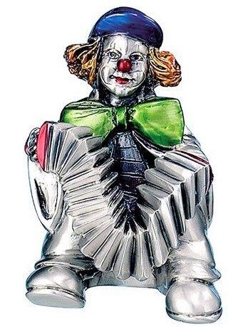 Серебряная коллекционная фигурка клоуна с аккордеоном, высота 10 см. (Италия)