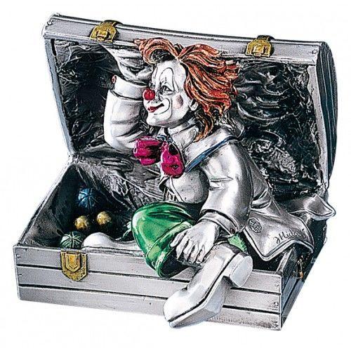 Серебряная коллекционная фигурка клоуна в чемодане, высота 11 см. (Италия)