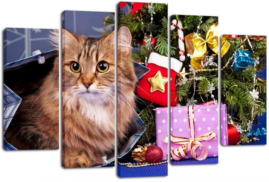 Модульная картина Кошка у елки