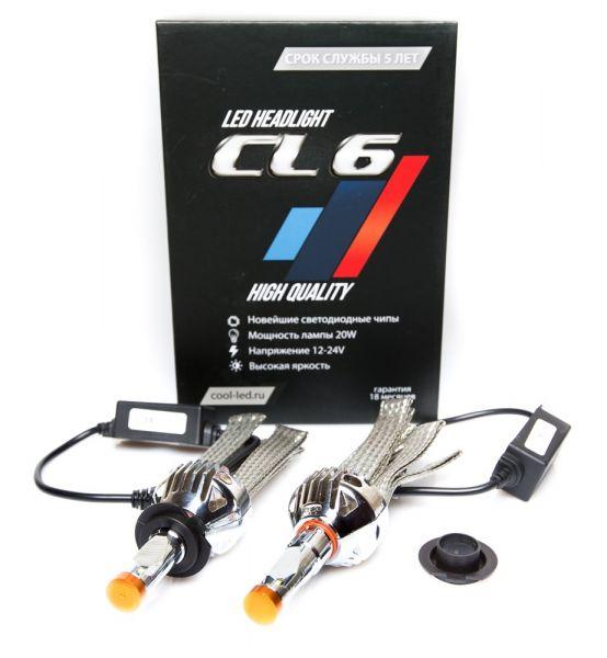 Комплект светодиодных ламп теплого света CL6 цоколь H7 Premium