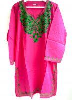 Женская розовая индийская туника (курта). Купить длинные рубашки из Индии