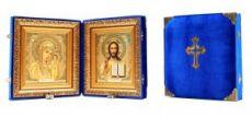 Складень Казанская-Спаситель (синий бархат)
