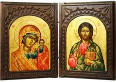 Складень Казанская-Спаситель (рукописный с резьбой)