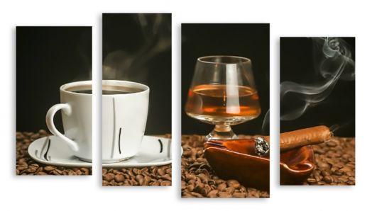 Модульная картина Кофе коньяк