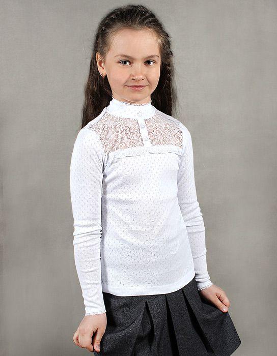 Белая блуза для девочки с длинным рукавом