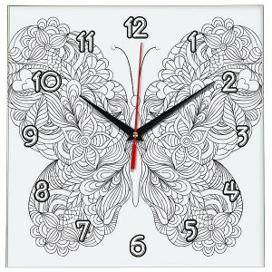 Часы раскраска Бабочка