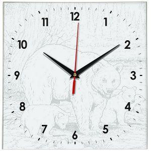 Часы раскраска Мишки в лесу