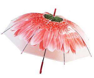 Зонт-трость Цветок красный