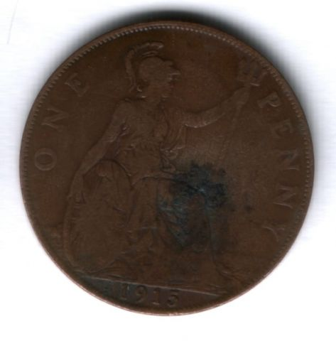 1 пенни 1915 г. Великобритания