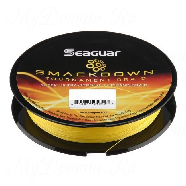 Шнур плетеный Seaguar Smackdown (x8) желтый 0,285 мм; 40 lb/18,2 кг; 150 ярдов/137 м.
