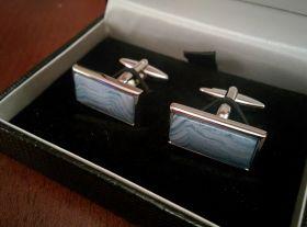 модные английские запонки Голубой кружевной Агат в форме прямоугольного кабошона SQUARE CABOCHON BLUE LACE AGATE