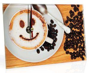 Часы стеклянные  Кофе
