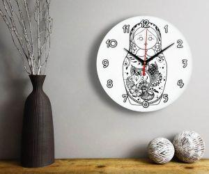 Часы раскраска Матрешка