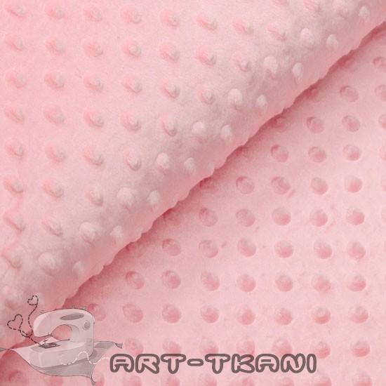 Плюш (велюр) Minky dot (минки) розовый 50х40