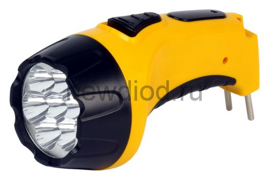 Аккумуляторный светодиодный фонарь 7 LED с прямой зарядкой, желтый