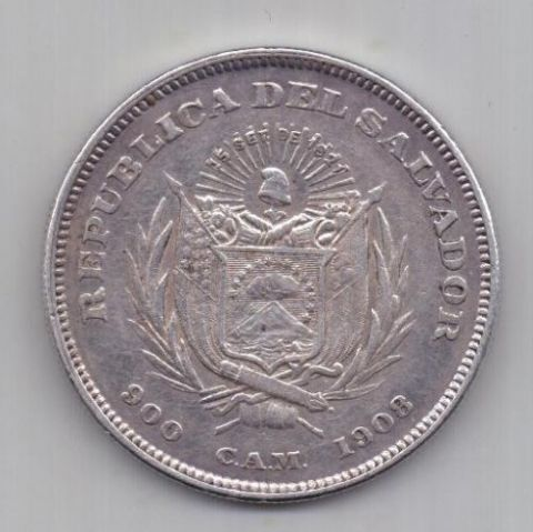 1 песо 1908 г. Христофор Колумб. Сальвадор